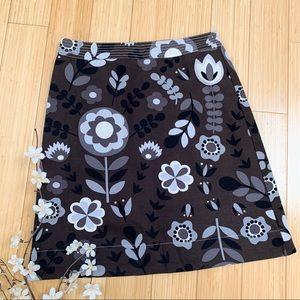 BODEN brown floral A-line skirt, US 6.